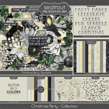 Christmas Party Bundle Digital Art - Digital Scrapbooking Kits
