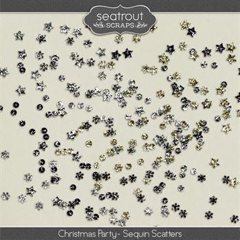 Christmas Party Sequin Scatters Digital Art - Digital Scrapbooking Kits