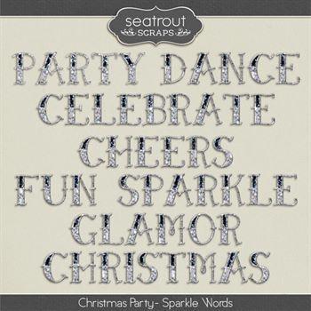 Christmas Party Sparkle Words Digital Art - Digital Scrapbooking Kits