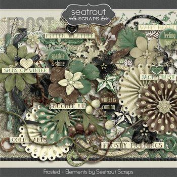 Frosted Embellishments Digital Art - Digital Scrapbooking Kits