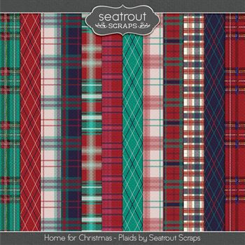 Home For Christmas Plaid Papers Digital Art - Digital Scrapbooking Kits