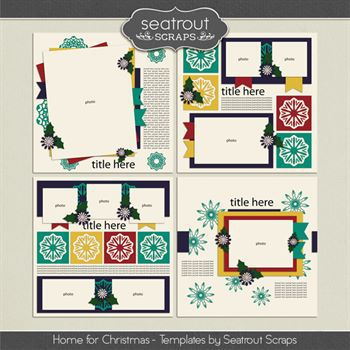 Home For Christmas Templates Digital Art - Digital Scrapbooking Kits