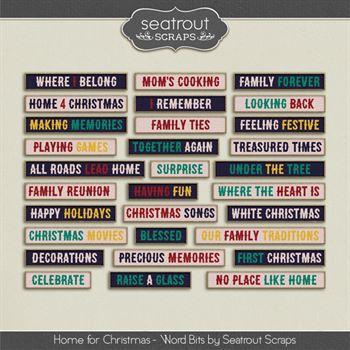 Home For Christmas Word Bits Digital Art - Digital Scrapbooking Kits