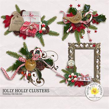 Jolly Holly Clusters Digital Art - Digital Scrapbooking Kits