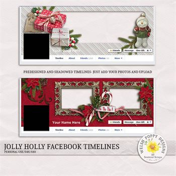 Jolly Holly Pre-made Facebook Timelines Digital Art - Digital Scrapbooking Kits