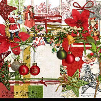 Christmas Village Kit Digital Art - Digital Scrapbooking Kits