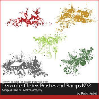 December Clusters Brushes And Stamps No. 02 Digital Art - Digital Scrapbooking Kits