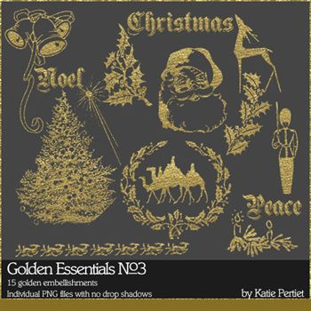Golden Essentials No. 03 Digital Art - Digital Scrapbooking Kits
