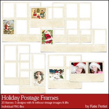 Holiday Postage Frames Digital Art - Digital Scrapbooking Kits