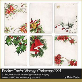 Pocket Cards Vintage Christmas No. 01 Digital Art - Digital Scrapbooking Kits