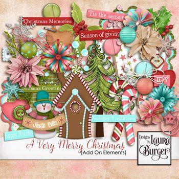 A Very Merry Christmas Add Elements Digital Art - Digital Scrapbooking Kits
