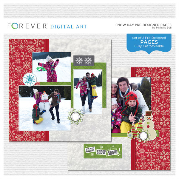 Snow Day Pre-designed Pages Digital Art - Digital Scrapbooking Kits