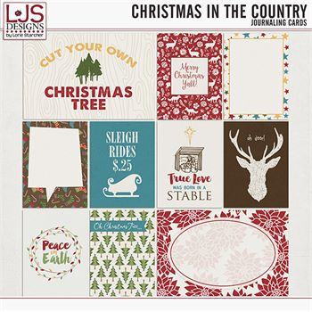 Christmas In The Country - Journal Cards Digital Art - Digital Scrapbooking Kits