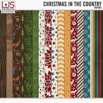 Christmas In The Country - Papers Digital Art - Digital Scrapbooking Kits