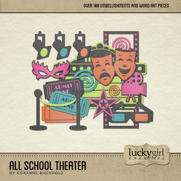 All School Theater Digital Art - Digital Scrapbooking Kits