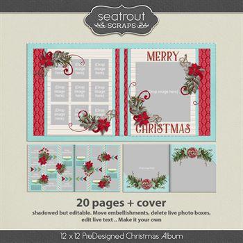 12 X 12 Christmas Predesigned Editable Album Digital Art - Digital Scrapbooking Kits