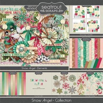Snow Angel Bundle Digital Art - Digital Scrapbooking Kits