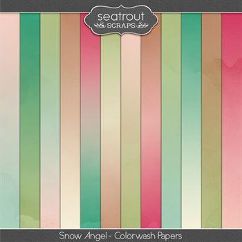 Snow Angel Colorwash Papers Digital Art - Digital Scrapbooking Kits