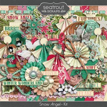 Snow Angel Kit Digital Art - Digital Scrapbooking Kits