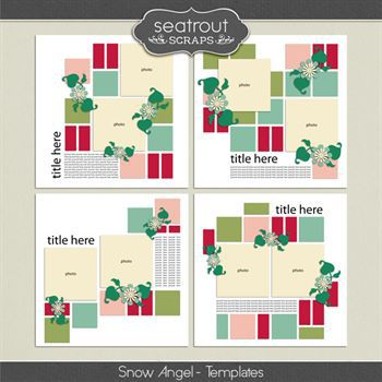 Snow Angel Templates Digital Art - Digital Scrapbooking Kits