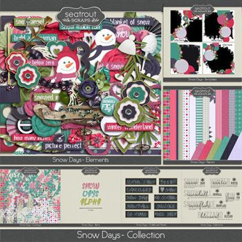 Snow Days Bundle Digital Art - Digital Scrapbooking Kits