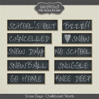 Snow Days Chalkboard Words Digital Art - Digital Scrapbooking Kits