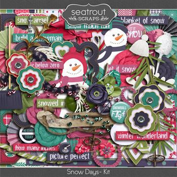 Snow Days Kit Digital Art - Digital Scrapbooking Kits