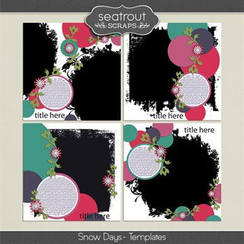 Snow Days Templates Digital Art - Digital Scrapbooking Kits