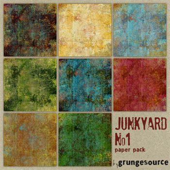 Junk Yard No. 01 Paper Pack Digital Art - Digital Scrapbooking Kits