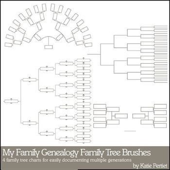 My Family Genealogy Family Tree Brushes And Stamps Digital Art - Digital Scrapbooking Kits