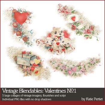 Vintage Blendables Valentines No. 01 Digital Art - Digital Scrapbooking Kits