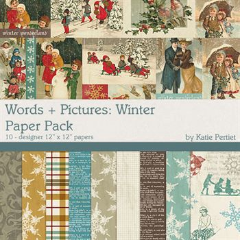 Words + Pictures Winter Paper Pack Digital Art - Digital Scrapbooking Kits