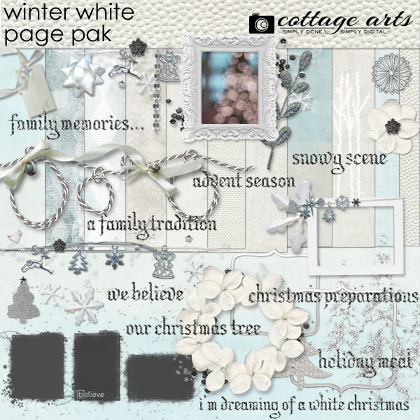 Winter White Page Pak Digital Art - Digital Scrapbooking Kits