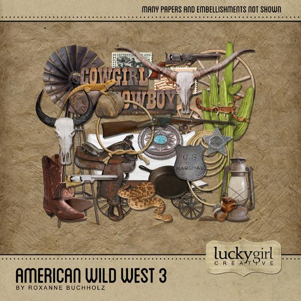 American Wild West 3 Digital Art - Digital Scrapbooking Kits