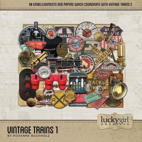 Vintage Trains 1 Digital Art - Digital Scrapbooking Kits