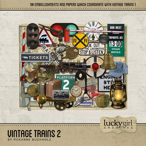 Vintage Trains 2 Digital Art - Digital Scrapbooking Kits