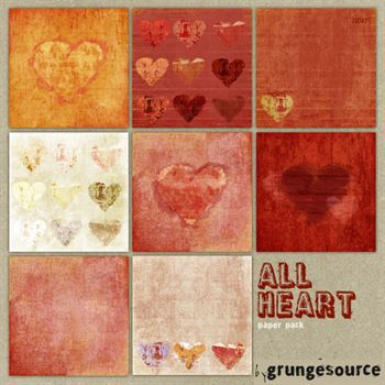 All Heart Paper Pack Digital Art - Digital Scrapbooking Kits