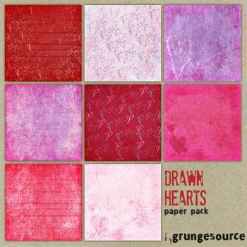 Drawn Hearts Paper Pack Digital Art - Digital Scrapbooking Kits