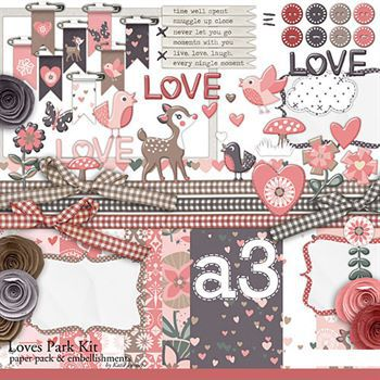 Loves Park Kit Digital Art - Digital Scrapbooking Kits