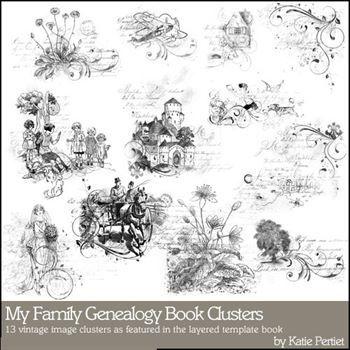 My Family Genealogy Clusters Megapak Digital Art - Digital Scrapbooking Kits