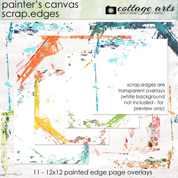 Painter's Canvas Scrap.edges Pak Digital Art - Digital Scrapbooking Kits