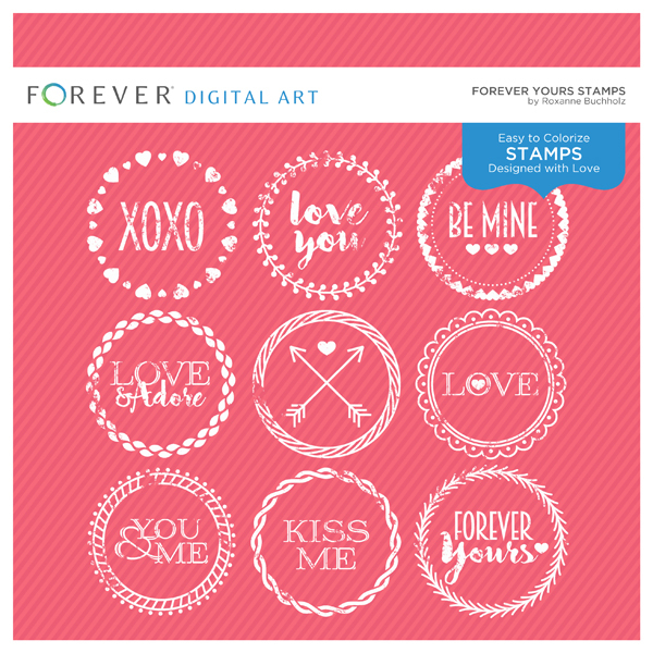 Forever Yours Stamps Digital Art - Digital Scrapbooking Kits