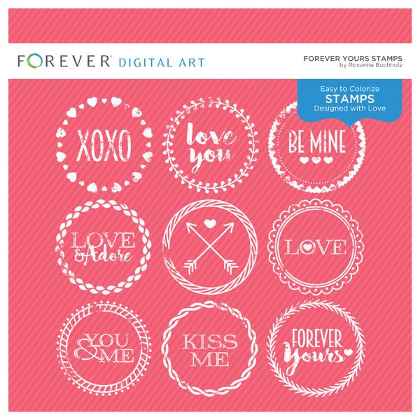 Forever Yours Stamps Digital Art - Digital Scrapbooking Kits