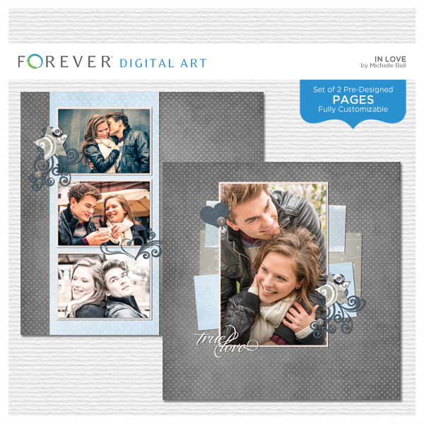 In Love Pre-designed Pages Digital Art - Digital Scrapbooking Kits