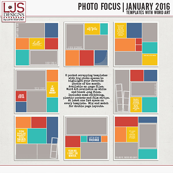 Photo Focus - January 2016 Digital Art - Digital Scrapbooking Kits