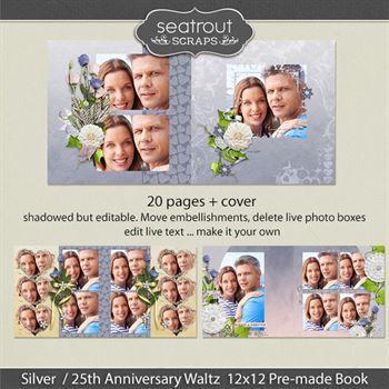 12 X 12 Silver 25th Anniversary Predesigned Editable Album Digital Art - Digital Scrapbooking Kits