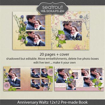 12x12 Anniversary Waltz Premade Editable 20 Page Photo Book Digital Art - Digital Scrapbooking Kits