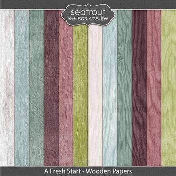 A Fresh Start Wooden Papers Digital Art - Digital Scrapbooking Kits