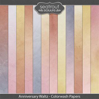 Anniversary Waltz Colorwash Papers Digital Art - Digital Scrapbooking Kits