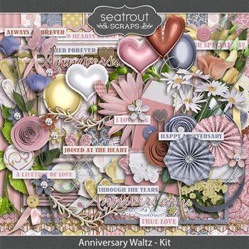 Anniversary Waltz Kit Digital Art - Digital Scrapbooking Kits